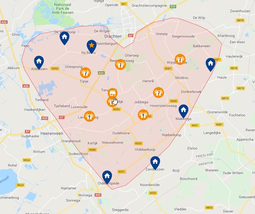 kaart van zuid oost friesland
