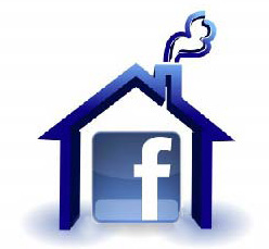 Facebook logo in huisje
